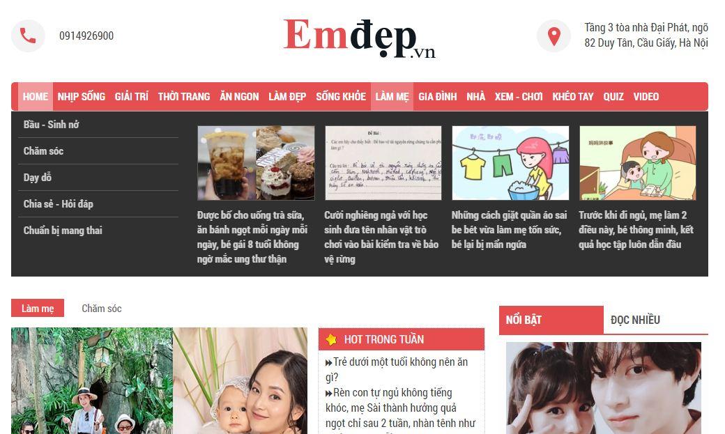 trang web mẹ và bé mới nổi emdep.vn