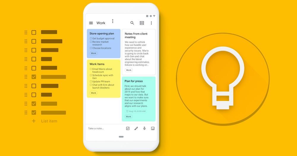 Google Keep- Công cụ quản lý công việc từ Google